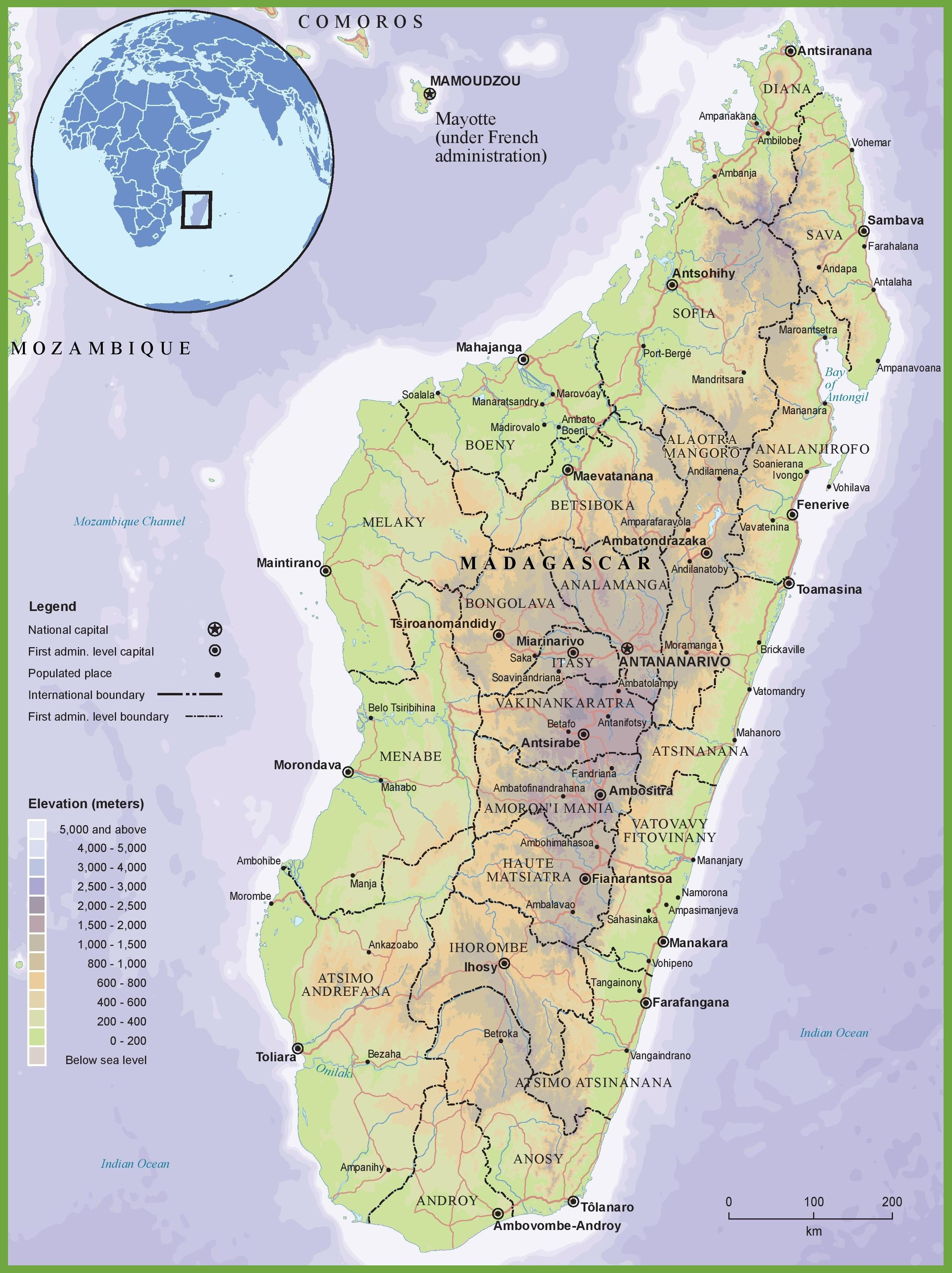 Fyysinen Kartta Madagaskar Kartta Fyysinen Kartta Madagaskar